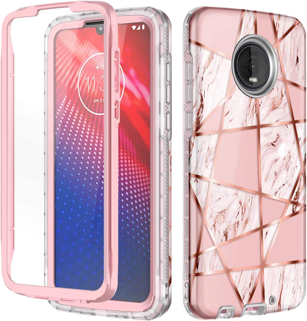 Hekodonk for Moto Z4 Case,Moto Z4 Play Case Built in Screen Protector Heavy Duty High Impact PC TPU Bumper Full Body Protective Shockproof Anti-Scratch Cover for Moto Z4/Z4 Play-Marble Pink