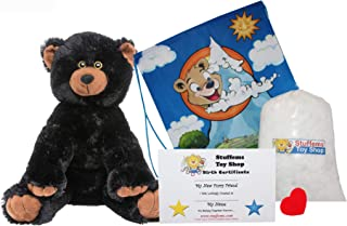 """Make Your Own Stuffed Animal 16"""" """"Black Bear No Sew - Kit with Cute Backpack!"""