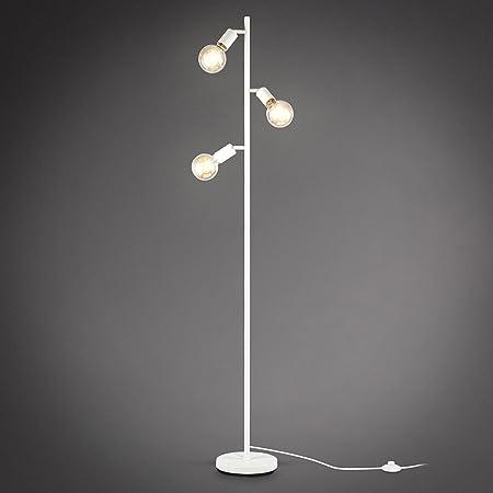 B.K.Licht Lampadaire à pied, 3 spots pivotants, douilles E27, design rétro industriel en métal blanche, interrupteur à pied, livré sans ampoules