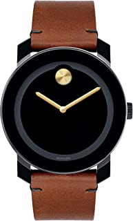 Movado Men's BOLD TR90 Watch with a Sunray Dot and Leather Strap, Black/Gold (Model 3600305)