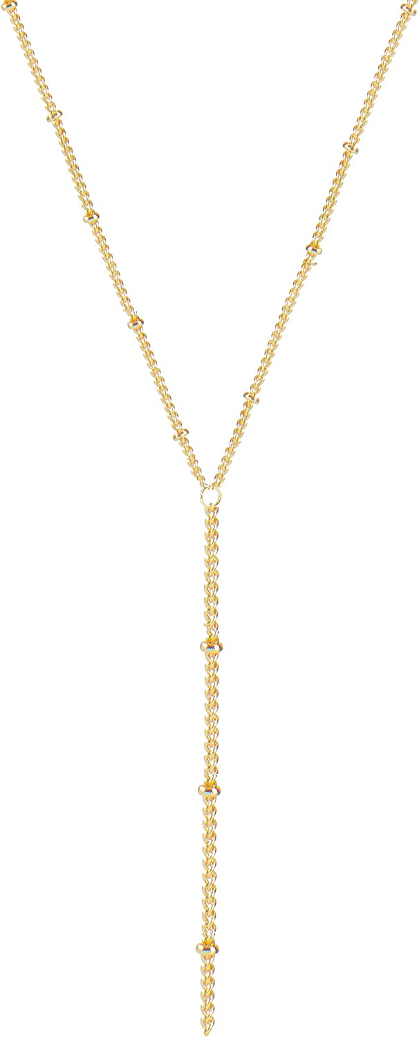 itianxi Gold Tiny Y Shaped Dainty Necklace 18K Gold Plated Cute Bar Vertical Lariat Necklace for Women