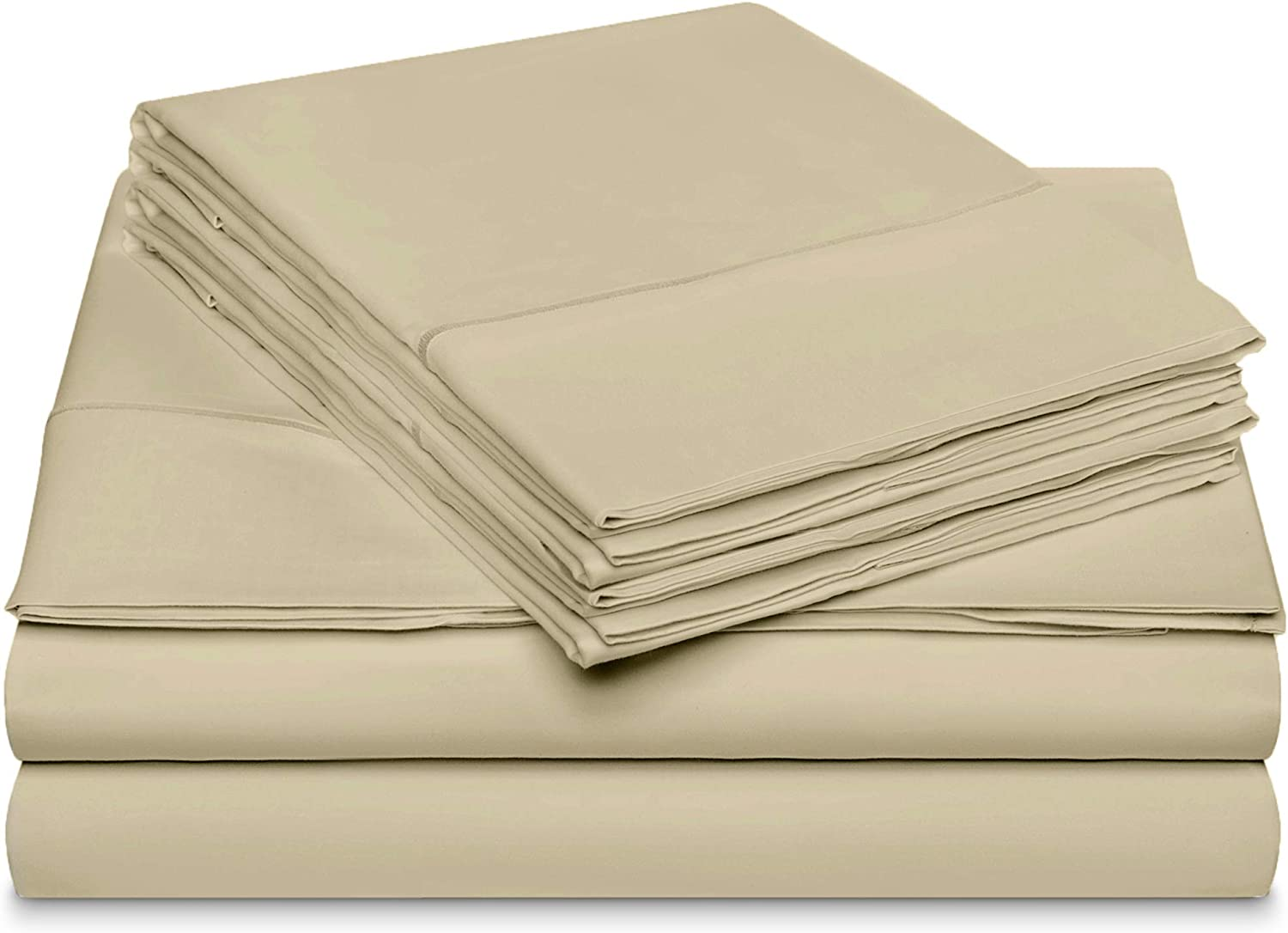 DREAM CASTLE 600 Thread Count 100% Cotton Sheet Set with Bonus Pillowcases,King Sheets, Smooth Sateen Weave, Deep Pockets, Luxury Bedding, King Sheets 6 Piece Set with Marrow Hem,Latte New