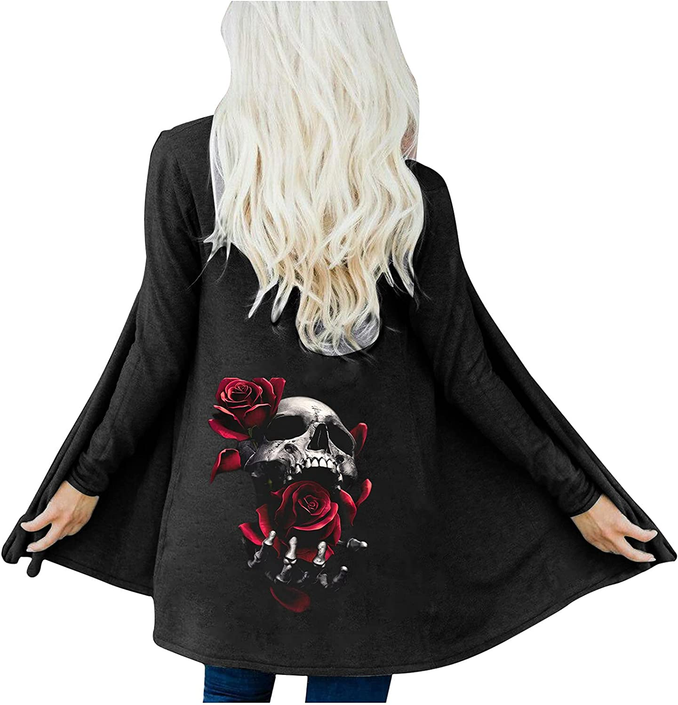 Women's Autumn Coat Cardigan Fashion Halloween Skull Print Blouse Tops Loose Long Sleeve Outerwear