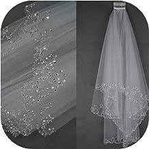 White Ivory Woman Bridal Veils Wedding Veils 2 Layers 75 Cm Handmade Beaded Edge With Comb