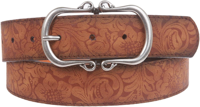 1 1 2  Floral Embossed Vintage Leather Belt