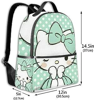 Classic School Backpack Hello Kitty Green Dot Unisex College Schoolbag Travel Bookbag Black