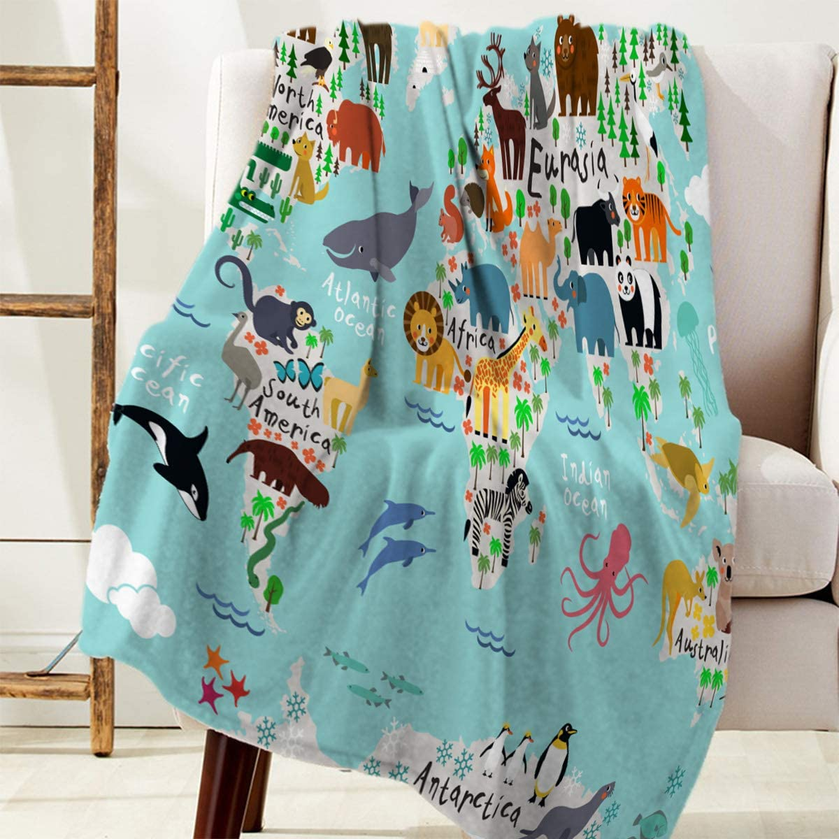 Flannel Fleece Blankets Ranking integrated 1st place Animal Map of Children World for Al sold out. The and