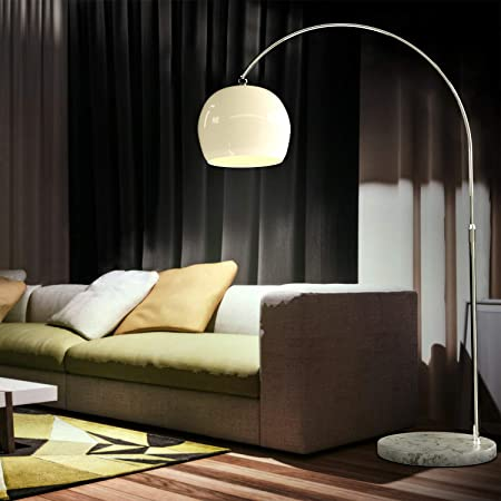 CCLIFE Lampe Lampadaire à arc salon courbée, Lampe arceau moderne en chrome Lampadaire sur pied marbre, Couleur: Blanc, réglable en hauteur 145-220cm