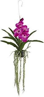 """Nearly Natural Artificial Plant 41"""" Vanda Orchid Hanging Basket, Purple"""