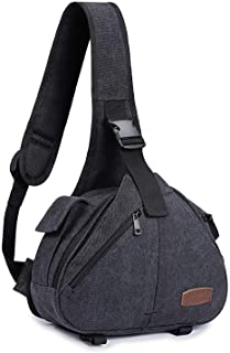 S-ZONE Canvas Camera Sling Bag DSLR Lens Anti-Theft Backpack Shoulder Crossbody Case with Tripod Holder