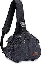 S-ZONE Canvas Camera Sling Bag DSLR Shoulder Crossbody Backpack for Lens Tripod