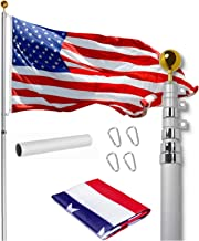 Sponsored Ad - Telescopic Flag Pole for House 30 Ft - Fly 2 Flags, Free 3x5 US Flag and Ball, Flag Pole Kit for Yard, Flag...