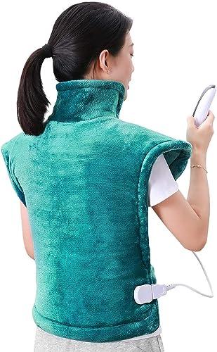 60 x 90cm Almohadilla Térmica Eléctrica para la Espalda, Hombros y Cuello Calentado con Tecnología de Calentamiento R...