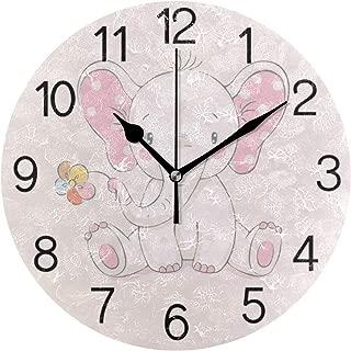 Chovy 掛け時計 置き時計 北欧 おしゃれ かわいい サイレント 連続秒針 壁掛け時計 インテリア 象 エレフェン 花 ピンク 可愛い かわいい おもしろ 部屋装飾 子供部屋 プレゼント