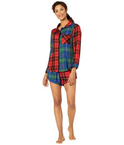 Plush Ultra Soft Plaid Patchwork Pajama + Bandana Scrunchie Set (Red/Green Plaid) Women
