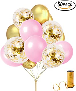 Sorive 50 Pcs Confetti Balloons 12'' Gold Foil Pre-Filled with 12'' Gold and Pink Latex Party Balloons and a Roll of Gold Curling Ribbon for Wedding Engagement Birthday Party Events