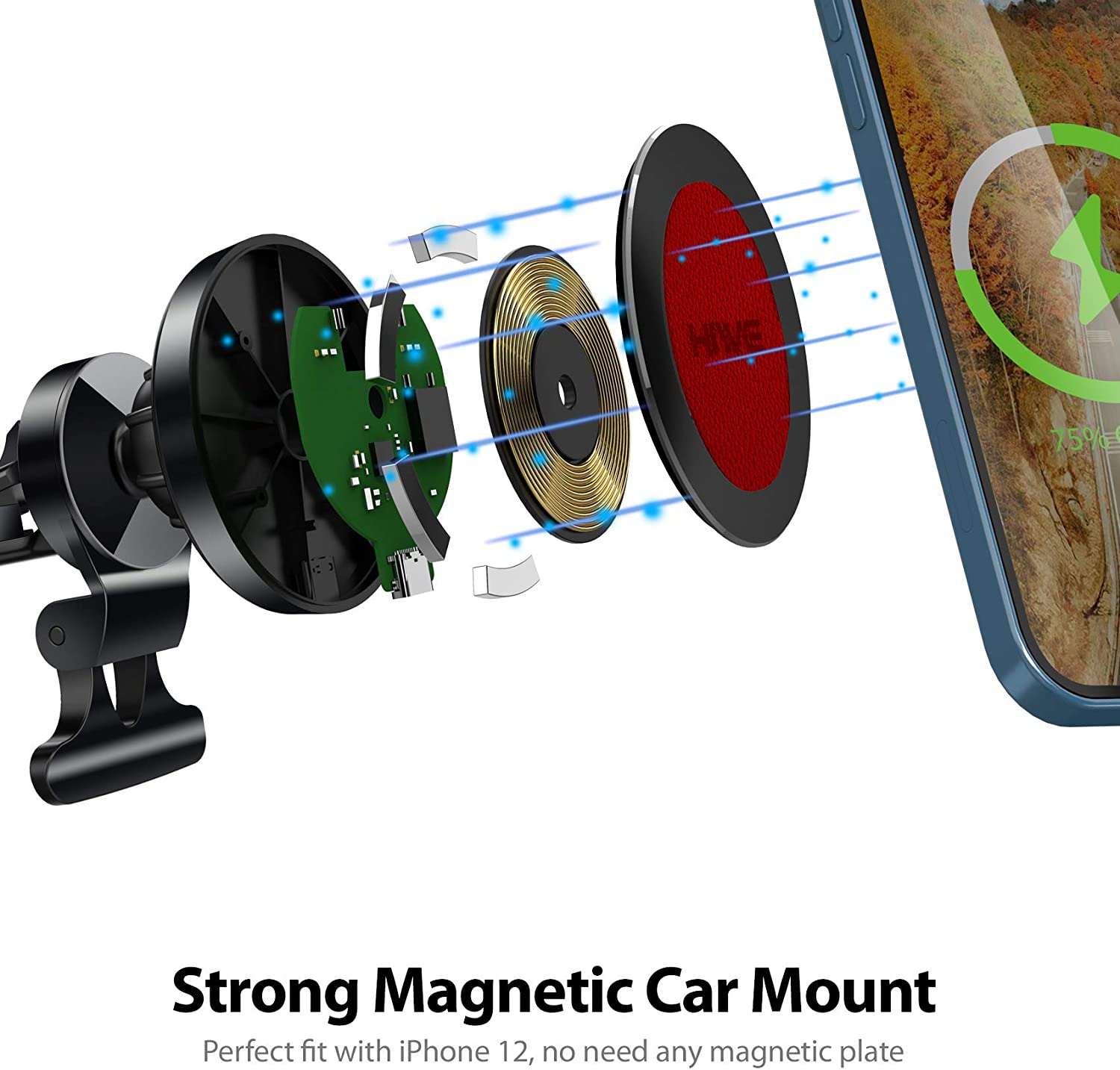 Magnetic Phone Car Mount for iPhone 12-15W Fast Charging Car Phone Holder Mount Compatible with iPhone 12//12 Mini//12 Pro//12 Pro Max,iPhone Wireless Car Charger Wireless Car Charger Dark Black