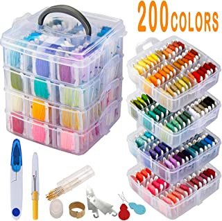 238 Pack Embroidery Thread Floss Set Including 200 Colors 8M/Pcs Cross Stitch Sewing Thread with Floss Bins and 38 Pcs Cross Stitch Tool,4-Tier Transparent Box for Storage