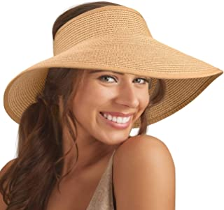 Maylisacc Foldable Straw Sun Visors for Women, Sun Protecetion Wide-Brimmed Sun Hats Adjustable Topless Beach Hat