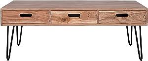 Jofran Inc. Rollins Solid Acacia Three Drawer Coffee Table, Natural