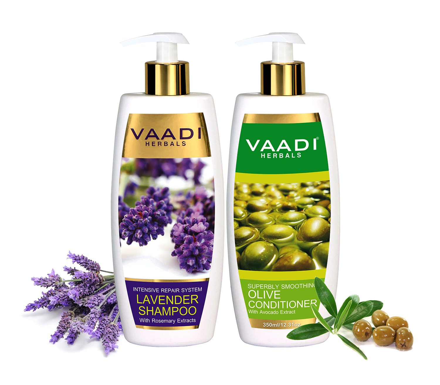Lavender with Rosemary Extract Shampoo and Olive Conditioner Intensive Repair Shampoo ALL Natural Paraben Free Sulfate Free Scalp Therapy Moisture Therapy Suitable for All Hair Types - Each Pack of 350ml - Each 11.8 Oz - Vaadi Herbals