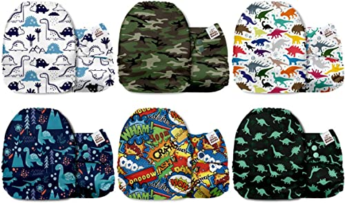 Mama Koala One Size Baby Washable Reusable Pocket Cloth Nappies, 6 Pack with 6 One Size Microfiber Inserts (Dino Code)