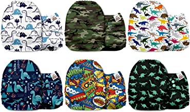 Mama Koala One Size Baby Washable Reusable Pocket Cloth Diapers, 6 Pack with 6 One Size Microfiber Inserts (Dino Code)