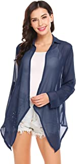 Grabsa Women's Chiffon Long Sleeve Open Front Roll up Lightweight Casual Cardigan