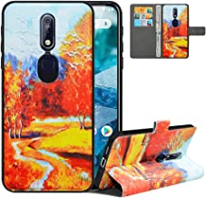 LFDZ Compatible with Nokia 7.1 Case, PU Leather Nokia 7.1 Wallet Case with [RFID Blocking], 2 in 1 Magnetic Detachable Flip Slim Cover Case for Nokia 7.1,Autumn