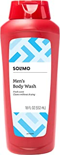 Amazon Brand - Solimo Men's Body Wash, Fresh Scent, 18 fl oz