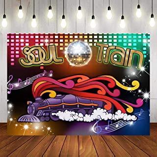 70's Soul Train Theme Photography Backdrop 70's and 80's Disco Dancing Prom Party Decoration Supplies Neon Glow Photo Back...