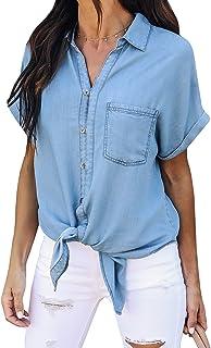 0fad0251563 PiePieBuy Women s Short Sleeve Denim Shirt Tops Button Closure Chambray  Shirts with Pockets