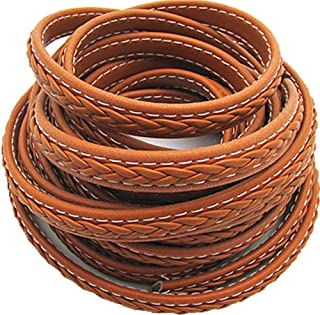 12mm Braided Leather Rope Flat Wide Braided Leather Rope Leather Rope 5 Meters (Brown)