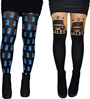 Doctor Who Tights Socks Merchandise (2 Pair) - Dr Who Leggings Dalek Tardis Costume Hosiery