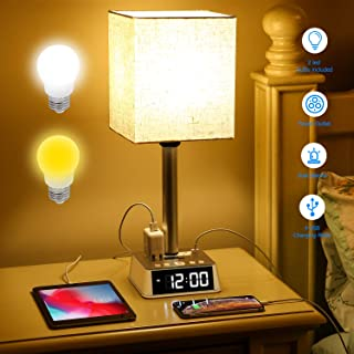 Table Lamp - Bedside Table Lamps with 4 USB Ports and AC Power Outlets, Alarm Clock Base w/ 6Ft Extension Cord, Square Oatmeal Fabric Lampshade Modern Accent Nightstand Lamps for Bedroom Living Room