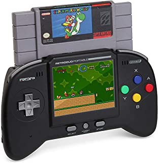Retro-Bit RDP 2 in 1 Portable Handheld Console System – for NES and SNES Games – Black