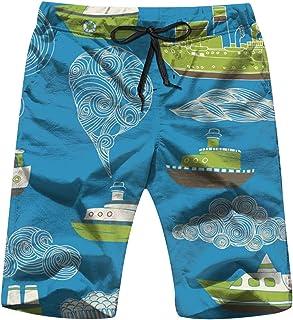 Cool pillow Sea Boats Transportation Men's Swim Trunks Beach Short Board Shorts