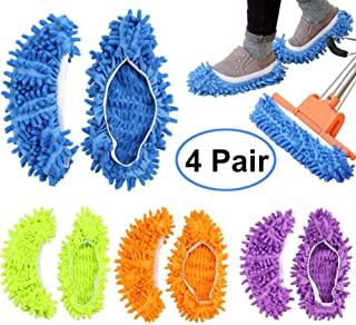 FEATHERHEAD Bontip 4 Pairs (8 Pieces) Unisex Washable Dust Mop Slippers Shoes Microfiber..