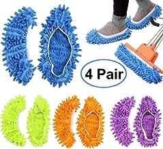 FEATHERHEAD Bontip 4 Pairs (8 Pieces) Unisex Washable Dust Mop Slippers Shoes Microfiber..