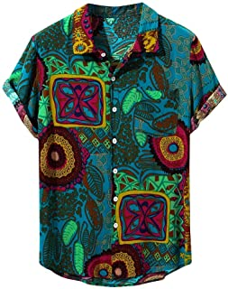 Berimaterry Funky Camisa Señores Manga Corta Bolsillo Delantero Impresión de Hawaii Playa Camisa Hawaiana para Hombre Mujer Casual Camisas Verano Unisex 3D Estampada Funny Shirt S-XL Raya Bohemia