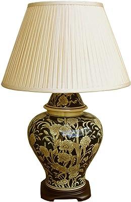 Lampe de chevet moderne en céramique en bois noir   Vase doré en relief avec abat-jour plissé crème foncé décoratif pour chambre à coucher, couloir, salon