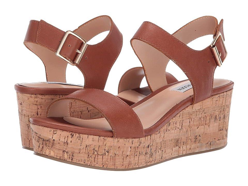 Steve Madden Breathe Wedge Sandal (Cognac Leather) Women