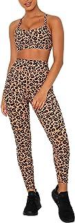 Blibea Women's Leopard Print Workout Outfit 2 Pieces Yoga Leggings Crop Top with Sports Bra Gym Clothes Set S-XXL