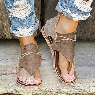 Women Sandal Strap Flat Shoes Retro Leopard Zip Flip-Flop Fashion Strap Rope Cross Flip Flop Shoes Open Toe Slingback Print Faux Leather Sandals,Brown,37