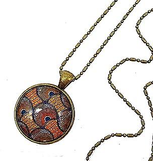 Collier long pendentif cabochon * wax * Africain ethnique marron orangé collier sautoir coloré tendance idée cadeau annive...