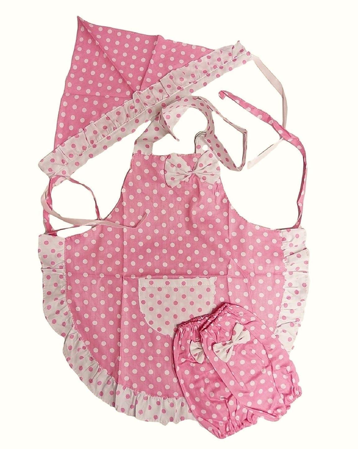 分注するすり減るサイレンShanTrip 女の子 エプロン セット エプロン & アームカバー & 三角巾 (ピンク)