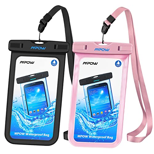 Mpow Waterproof Case, IPX 8 Cellphone Dry Bag for iPhone, Google Pixel, HTC, LG, Huawei, Sony, Nokia (2-Pack,Black&Pink)