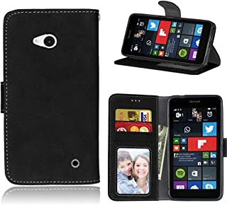 Lumia 640 Case, Microsoft Lumia 640 Wallet Case, Love Sound [Slim Fit] [Wallet Stand] [Scrub Series] PU Leather Wallet Flip Protective Case Cover with Card Slots for Microsoft Lumia 640 - Black