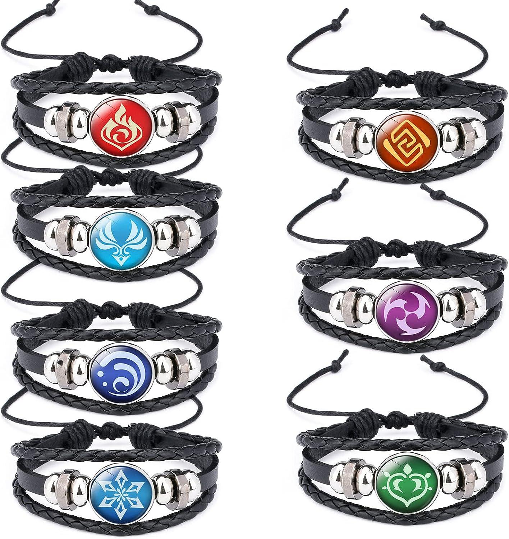 Genshin Impact Bracelet 7 Pack, Animne Luminous Bracelet, Element Luminous Bracelets Glow in Dark, God's Eye Time Gem Bracelet of Fire, Ice, Wind, Grass, Rock, Thunder, Water
