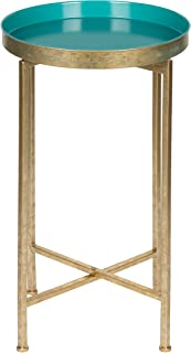 Kate and Laurel Celia Round Metal Foldable Tray Accent Table, 14x14x25.75, Gold/Teal